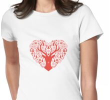 Christmas deer with red heart Womens Fitted T-Shirt