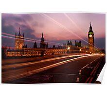 Light Trails at Westminster Poster