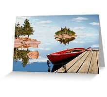 Maine-tage - Maine montage of dock and lake. Greeting Card