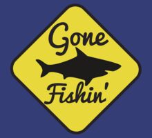 Gone Fishin FISHING sign with a SHARK by jazzydevil