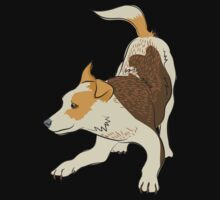 Heeler pub dog chasing tail by jazzydevil