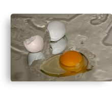 Raw egg and broken egg shell Canvas Print