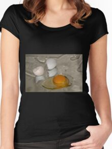 Raw egg and broken egg shell Women's Fitted Scoop T-Shirt