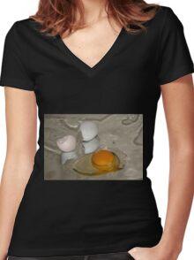 Raw egg and broken egg shell Women's Fitted V-Neck T-Shirt