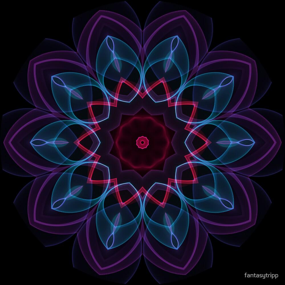 Purple Blue Pattern Flame Kaleidoscope 003  by fantasytripp