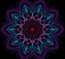 Purple Blue Pattern Flame Kaleidoscope 003  by fantasytripp