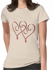 Entwined Elegant Red Hearts  Womens Fitted T-Shirt