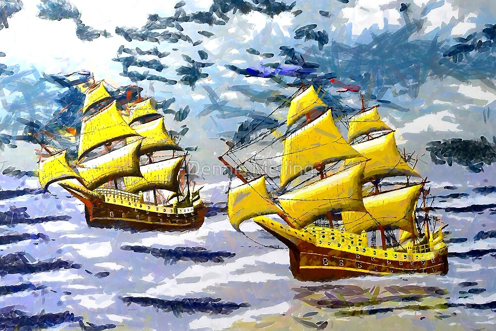 Two Ships of the Line in the Style of the Masters by Dennis Melling
