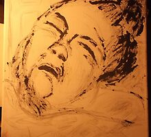 Mother Asleep -(150413)- Watercolour Paint/Canvas by paulramnora