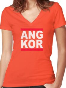 Angkor Women's Fitted V-Neck T-Shirt