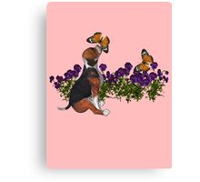 Beagle Puppy Butterflies Flowers  Canvas Print