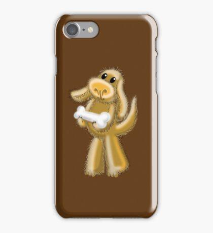 Super Hairy Puppy Dog with a bone iPhone Case/Skin