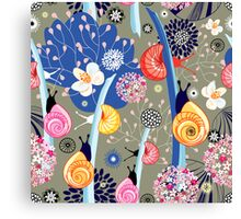 Floral pattern with bright snail Canvas Print