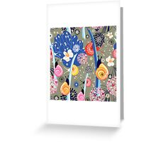 Floral pattern with bright snail Greeting Card