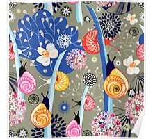 Floral pattern with bright snail Poster