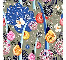 Floral pattern with bright snail Photographic Print
