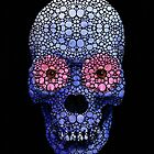 Skull Art - Day Of The Dead 1 Stone Rock&#x27;d Art By Sharon Cummings by Sharon Cummings