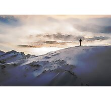 Christian Cross On Mountain Photographic Print