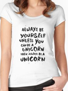 Be unicorn - black Women's Fitted Scoop T-Shirt