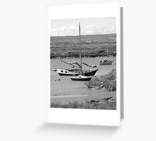 Boats moored - Burnham-on-Sea estuary Greeting Card