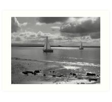 Yachts off Burnham-on-Sea Art Print