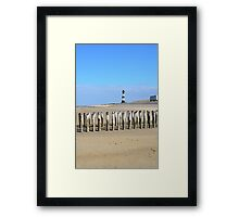 Lighthouse and camping car on the beach Framed Print
