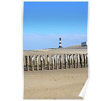Lighthouse and camping car on the beach Poster
