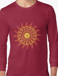 Psychedelic fire ornament sun Long Sleeve T-Shirt