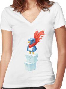 Super Penguin Women's Fitted V-Neck T-Shirt