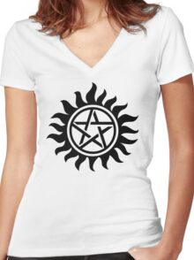 Supernatural Anti-Posession Symbol Women's Fitted V-Neck T-Shirt