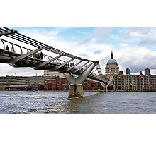 The Millennium bridge over the river Thames in London Photographic Print