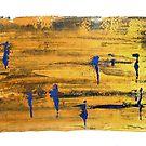 Figures in Landscape Blue & Gold by Lynn Ede by Lynn Ede