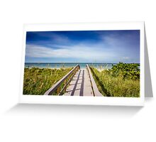 Board Walking a Treasure Island Beach Get Away Greeting Card
