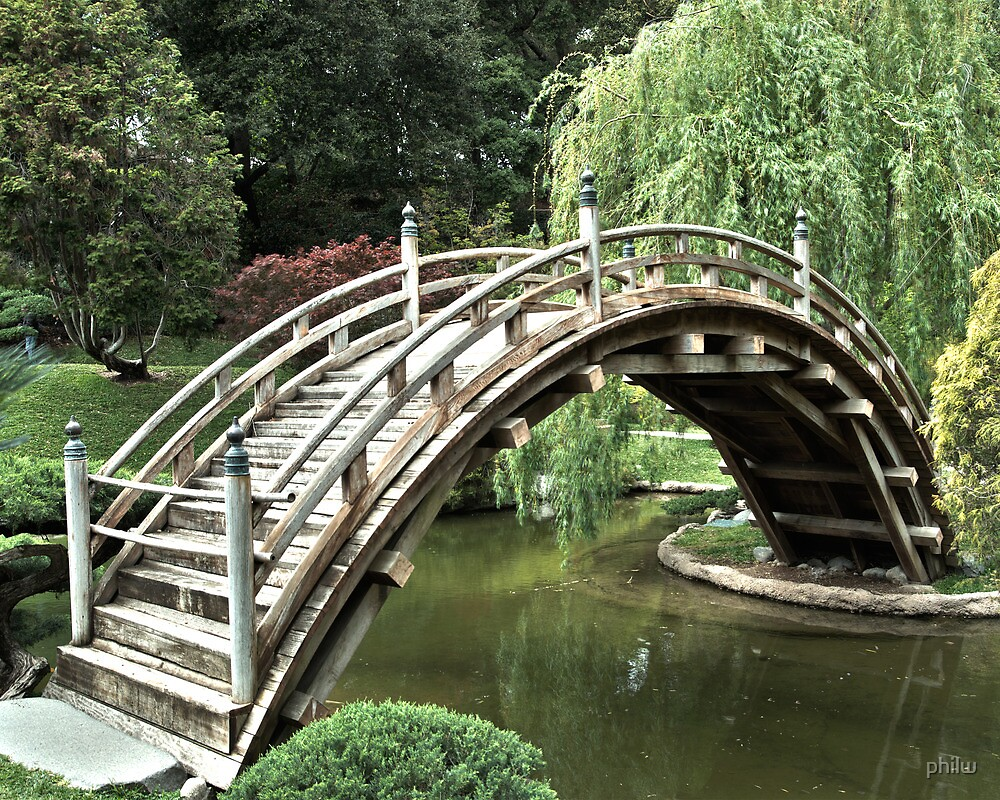 Japanese bridge over pond at the Huntington Library. by philw