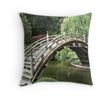 Japanese bridge over pond at the Huntington Library. Throw Pillow