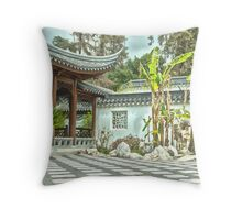 Japanese court yard at the Huntington Library. Throw Pillow