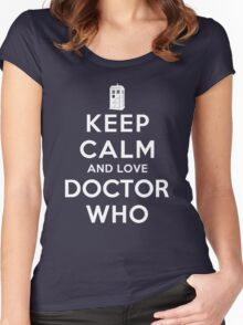 Keep Calm and Love Doctor Who (Dark Colors) Women's Fitted Scoop T-Shirt
