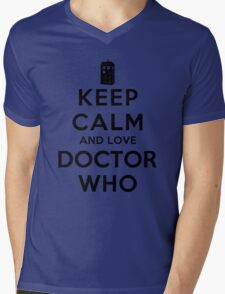 Keep Calm and Love Doctor Who (Light Colors) Mens V-Neck T-Shirt