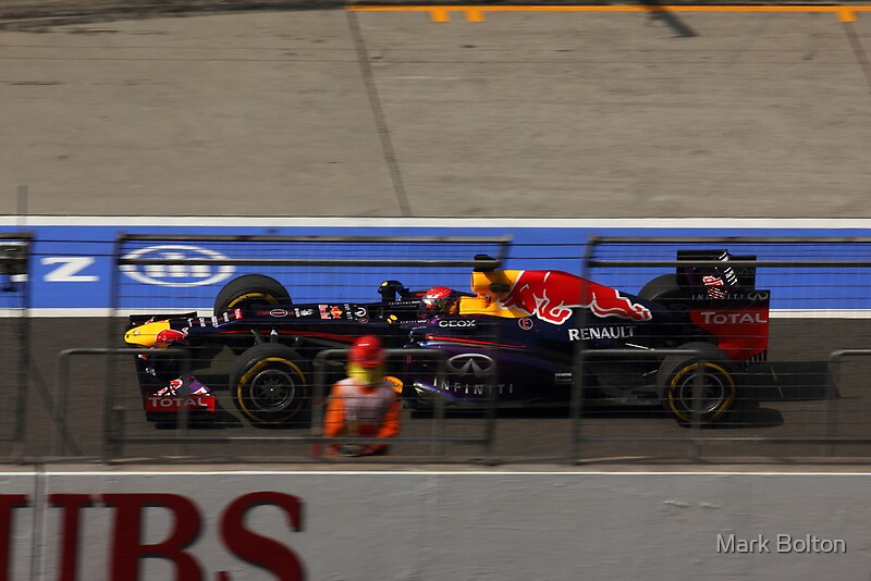 Sebastian Vetel's Redbull Racing Car speeds down the Pits