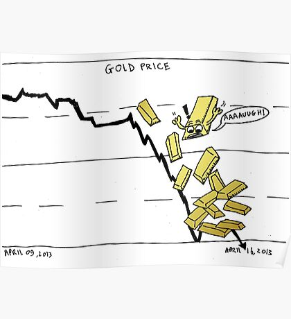 Gold falling comic Poster