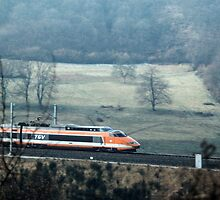 TGV coming at 275kph nr Cluny 198403070008 by Fred Mitchell
