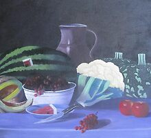 still life painting (water millon, red grapes,pumpkin and the apples by artpk2009
