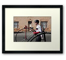 Uber cool Penny farthing dude Framed Print