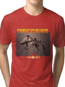 TRAINERSAURUS ON FIRE Tri-blend T-Shirt