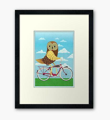 Owl Bicycle Framed Print