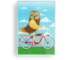 Owl Bicycle Metal Print