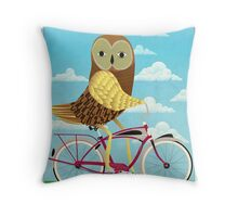 Owl Bicycle Throw Pillow