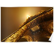 Eiffel Tower with low angle at night Poster
