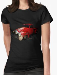 Flaming Chevy Pickup T-Shirt! Womens Fitted T-Shirt