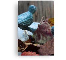 Bird Bath In the Fall Canvas Print
